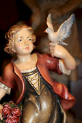 9 Wooden Hand Carved Girl Woman With Roses Flowers And Dove Statue Figurine