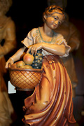 14 German Wooden Hand Carved Girl Woman Peasant With Fruit Basket Statue Figure