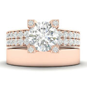 1.45ct H-si2 Diamond Wide Band Engagement Ring 18k Rose Gold Any Size