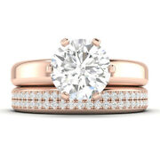 1.6ct D-si1 Diamond Wide Engagement Ring 18k Rose Gold Any Size