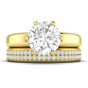 1.6ct D-si1 Diamond Wedding Set Engagement Ring 14k Yellow Gold Any Size