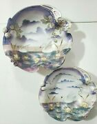 Antique Rs Prussia Set Of 2 Bowls Decorated With Swans Satin Finish