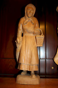 Vintage 19 Wooden Hand Carved Old Woman Granny With Umbrella Figurine Statue