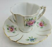 Occupied Japan Handpainted Floral Pink Flower Tea Cup And Saucer