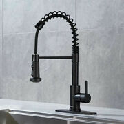 Commercial Kitchen Sink Faucet Spring W/ Pull-down Sprayer Single Handle Tap