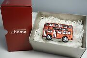 Nordstrom At Home Rare London Double Decker Bus Blown Glass Christmas Ornament