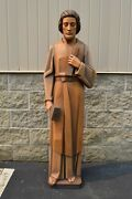 + Nice Older Wood Carved Statue Of St. Joseph, Carved In Italy, 5' Ht. + Cu752