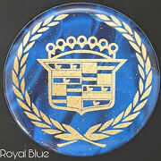 Blue And Gold Cadillac Dayton Wire Wheel Chips Emblems Decals Set Of 4 Size 2.25in