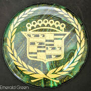 Green/gold Cadillac Dayton Wire Wheel Chips Emblems Decals Set Of 4 Size 2.75in