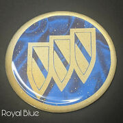 Blue And Gold Buick Zenith Wire Wheel Chips Emblems Decals Set Of 4 Size 2.25in.