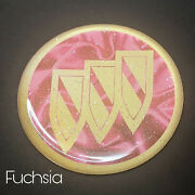 Pink And Gold Buick Zenith Wire Wheel Chips Emblems Decals Set Of 4 Size 2.75in.