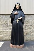 + Fine Vintage Spanish Statue Of Mother Cabrini Glass Eyes + Cu756 Chalice Co