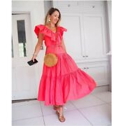 New Handm Ruffle Trimmed Blogger Fave Taffeta Dress Coral Pink Sold Out Small