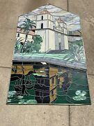 Large 3-piece Southern California Mission Leaded Stained Glass Window Pasadena