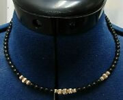 18 Hawaiian Black Coral And 14kt Gold Beaded Necklace 6g Tw