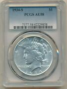 1934-s Peace Silver Dollar-semi Key Date-spectacular Coin Pcgs Au58-ships Free