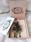 Vintage Kirks Folly Holiday Fairy Christmas Tree Brooch - Rare - Complete In Box