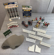Lemax And Dept. 56 Christmas Village Accessories Lot White Fence Lamps Figurines