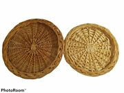 2 Vintage Straw Wicker Rattan Woven Paper Plate Holders Boho Decor 9 And 10.5