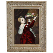 Antique French Maroon Limoges Enamel Porcelain Plaque Woman With Fruits Titian