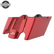 Wicked Red Denim Stretched Saddlebags Extended Bag Rear Fender Fits 14+ Harley