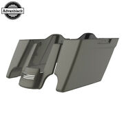 Industrial Gray Denim Stretched Extended Saddlebags Rear Fender Fits 14+ Harley