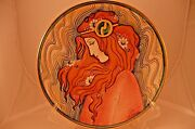 La Belle Femme Lily V. Tiziano Italy Hand Painted Etched Signed Red Gold Plate