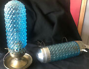 Vintage Blue Bubble Glass Lamps- Rarenightstand And Headboard Bed Lamp