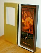 Vintage Snap-on Tools White Lingerie Brunette Pinup Girl Wall Clock W/ Box Works