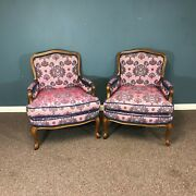 Pair Of Vintage French Louis Xv Style Velvet Chair