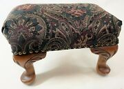 Vintage 14 Wood Cabriole Paisley Upholstery Victorian Style Ottoman Footstool