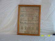 Antique C1818 Sampler By Elsa Scovill Numbers-letters-figures Well Done