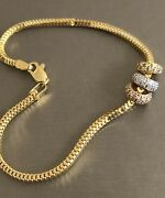 18ct Gold Diamond Charm Bracelet 0.60ct Tri Ring Circle Charms Snake Chain Solid
