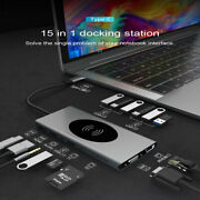 15 In 1 Laptop Docking Station Usb Type-c Hub Adapter With Wireless&pd Chargyyf0