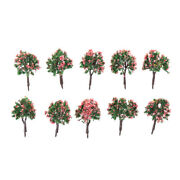 10pcs Ho Scale Model Trees Model Tree With Pink Flower For Railroad Sceneryyf0