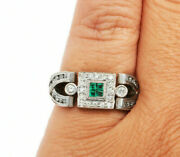 Vintage Art Deco Engagement And Wedding Antique Ring 1.20 Ct Emerald 14k Gold Over