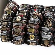 120pcs Mixed Styles Vintage Mens Alloy Leather Cuff Bracelets Jewelry Wholesale