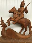 Beautiful Saint George And The Dragon Sculpture Carved In Wood