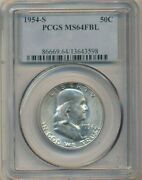 1954-s Franklin Silver Half Dollar-beautiful Coin Pcgs Graded Ms64 Fbl-free S/h