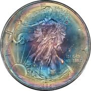 1996 American Silver Eagle Pcgs Ms68 - Rainbow Toned Monster - Key Date - Wow