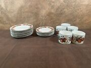 18 Piece Oneida Majestic Ware Apples And Warblers Set Dc Brown Co Vtg