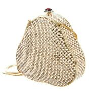 Judith Leiber Bag Scalloped Pearls Gold Vintage Minaudiere Crystals Club