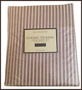 Pottery Barn Classic Ticking Twin Sheet Set - Fitted/flat Sheet And Pillowcase New
