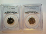 1996 P And D 2 Coin Set Jefferson 5c Nickel Pcgs Ms66fs