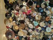 Huge Lot - 13 Lbs Vtg Mixed Buttons Novelty Sewing Crafts Plastic Metal Mop Wood