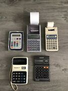 Vintage Calculators Lot Of 5 Tested And Working Panasonic Casio Canon