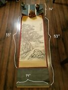 Very Large Chinese Scroll Painting Landscape Scene With An Old Man And Child