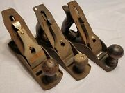 3 Antique Stanley Dunlap Lakeside Smooth Bottom Planes Woodworking Plane Tools