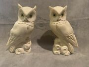 Alabaster Owl Bookends By Arnaldo Giannelli Pair