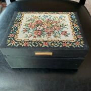 Vintage Wooden Padded Silk Chinese Jewelry Box
